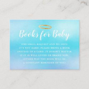 Heaven Sent Blue Baby Shower Book Request Enclosure Card