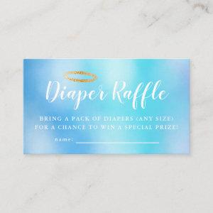 Heaven Sent Blue Baby Shower Diaper Raffle Ticket Enclosure Card