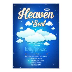 Heaven sent boy baby shower invitation