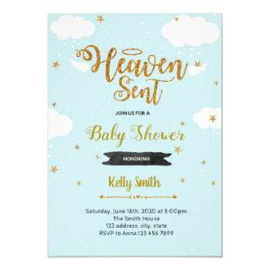 Heaven sent boy shower invitation