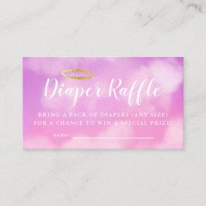 Heaven Sent Pink Baby Shower Diaper Raffle Ticket Enclosure Card
