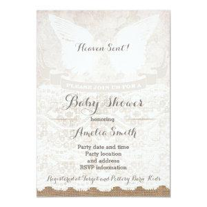 Heaven Sent Silver Taupe Angel Baby Shower Invitation