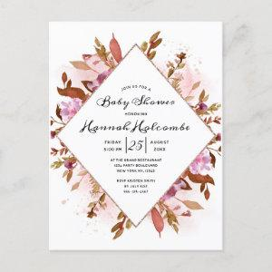 Heirloom Blush Floral Watercolor Baby Girl Shower Invitation Postcard