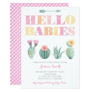 Hello Babies! Colorful Cactus Twins Baby Shower Invitation
