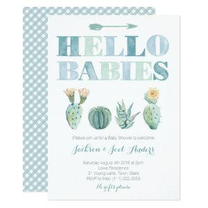 Hello Babies Twin Boys Cactus Baby Shower Party Invitation