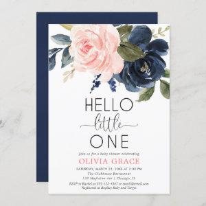 Hello little one pink navy blue girl baby shower invitation