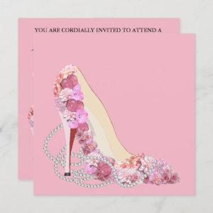 Here Comes The Bride Pink & Flowers Diamonds Party Invitation