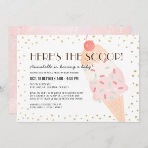 Here's the Scoop Ice Cream drive-by Baby Shower Invitation