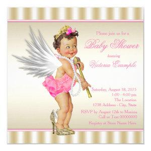 High Heel Angel Pink Gold Baby Girl Shower Invitation
