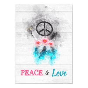 *~ Hippie Peace & Love Rustic Baby Neutral Shower Invitation