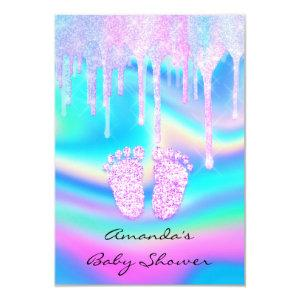 Hologram Unicorn Baby Shower Girly Feet Glitter Invitation
