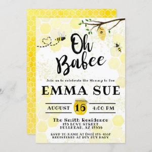 Honeycomb Bumble Bee Mommy to Bee Baby Shower Invitation