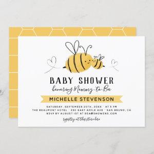 Honeycomb & Bumblebee Mommy To Bee Baby Shower Invitation