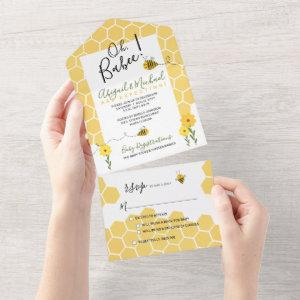 Honeycomb Watercolor Bumble Bee Baby Shower All In One
