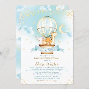 Hot Air Balloon Baby Shower by Mail Jungle Animal Invitation