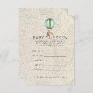 Hot Air Balloon | Baby Shower Guessing Game Invitation