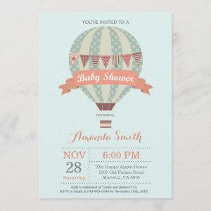 Hot Air Balloon Baby Shower Invitation Pink