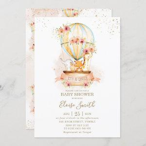 Hot Air Balloon Baby Shower Jungle Animals Girl Invitation
