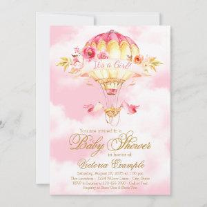 Hot Air Balloon Pink Gold Baby Shower Invitations
