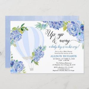 Hot air balloon up up and away boy baby shower invitation