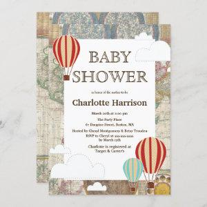 Hot Air Balloons & Clouds World Travel Baby Shower Invitation