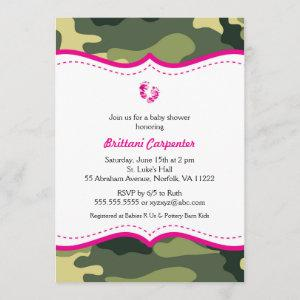Hot Pink and Green Camouflage Baby Shower invites
