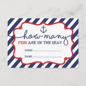 How Many Fish are in the Sea Baby Shower Game Enclosure Card