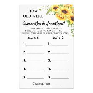 How old were They Baby shower bilingual game card