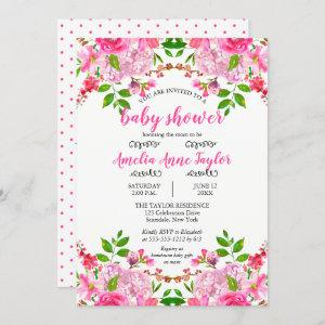 Hydrangea Pink Floral Watercolor Girl Baby Shower