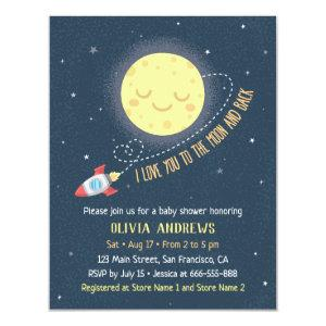 I Love You to the Moon and Back Baby Shower Invitation
