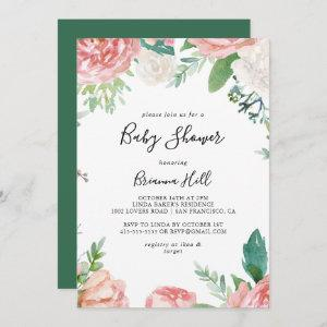 Illustrated Colorful Tropical Floral Baby Shower Invitation