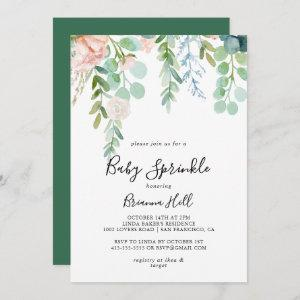 Illustrated Colorful Tropical Floral Baby Sprinkle Invitation