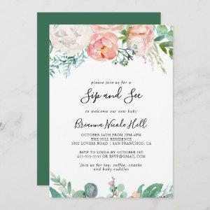 Illustrated Colorful Tropical Floral Sip and See Invitation