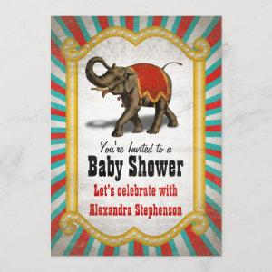 Indian Elephant Red Circus Boy Baby Shower Invitation