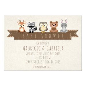 INVITACION DE BABY SHOWER - TEMA BOSQUE INVITATION