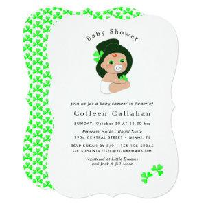 Irish Baby Leprechaun Lucky Shamrock Baby Shower Invitation