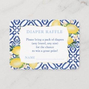 Italian Tiles And Lemons Baby Shower Diaper Raffle Enclosure Card