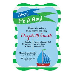 It's A Boy, Blue & Green Nautical Baby Shower Invitation