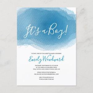 It's a Boy! Blue Watercolor Baby Shower Invitation Postcard