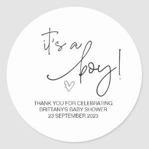 It's a Boy Cute Baby Shower Party Favor  Classic Round Sticker