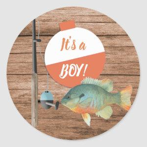 Its a Boy Fishing Baby Shower Classic Round Sticker