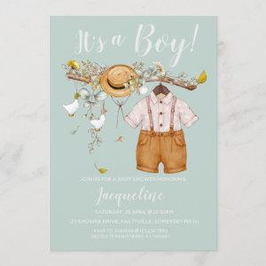 It's a Boy Floral Baby Shower Invitation