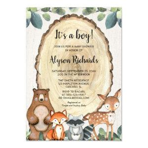 It's a boy forest friends woodland baby shower invitation