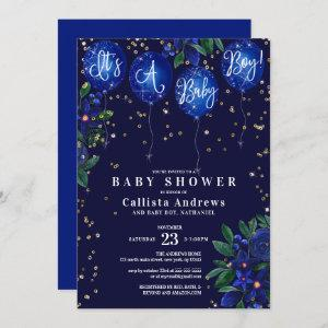 It's a Boy Glitter Balloons Floral Baby Shower Invitation