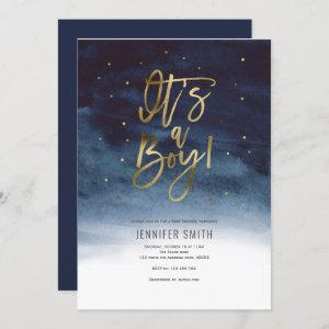 Its a boy, Modern, Gold, Baby Shower Invitation