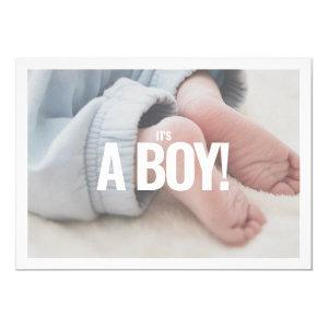Its a boy, own photo, baby shower card. invitation