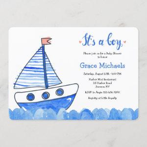 It's A Boy Sailboat Baby Shower