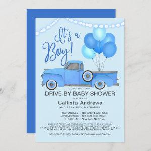 It's a Boy Truck Balloons Drive By Baby Shower Invitation