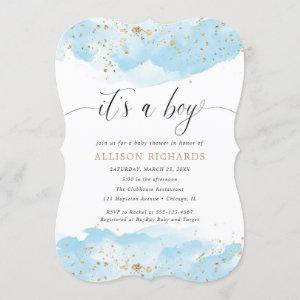It's a boy watercolor blue and gold baby shower invitation