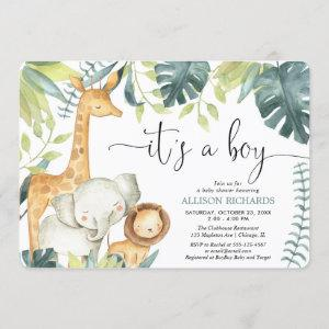 It's a Boy watercolor safari animals baby shower Invitation